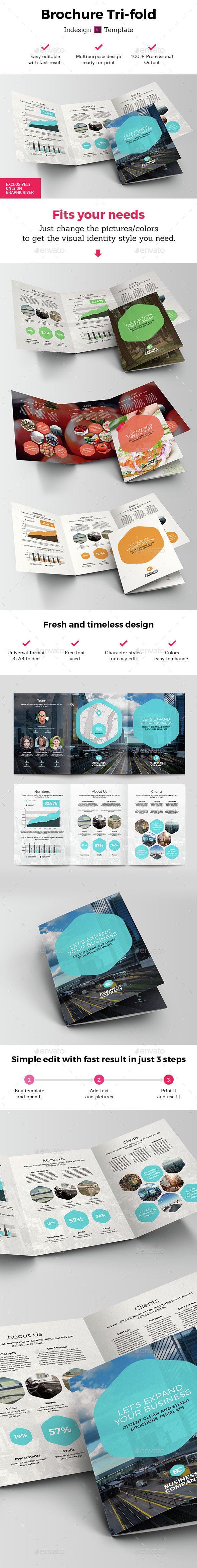 Polygon Brochure 3xA4 Tri-fold Indesign Template - Brochures Print Templates