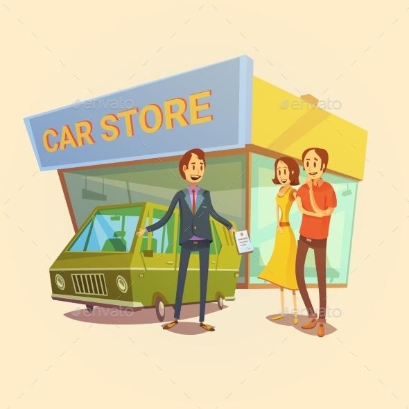 Car Dealer and Clients Concept - Concepts Business
