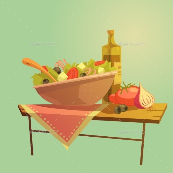 Salad Cartoon Concept - Food Objects