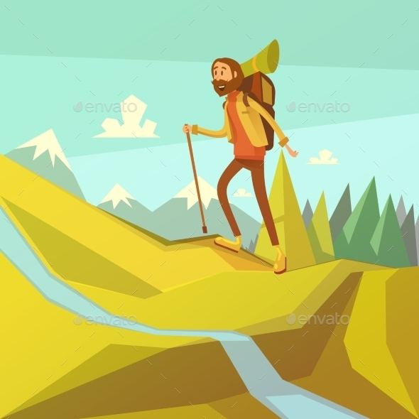 Hiking and Mountaineering Illustration  - Travel Conceptual