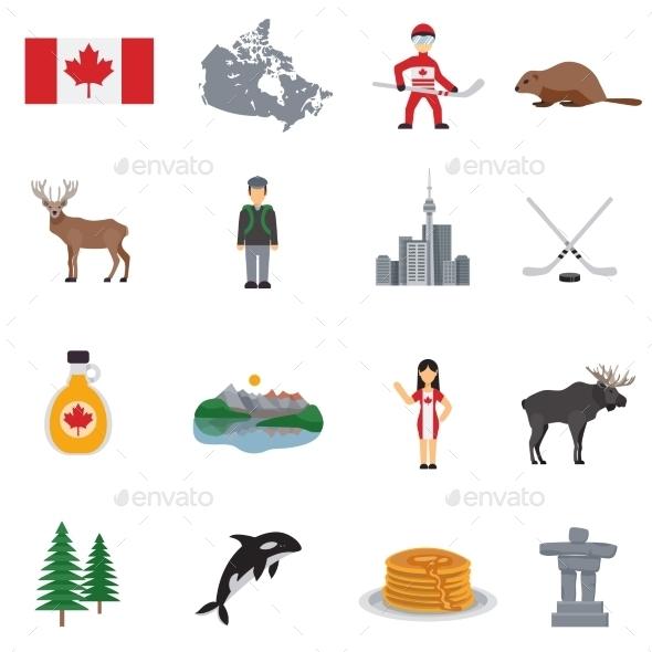 Canada Flat Icons Set - Travel Conceptual