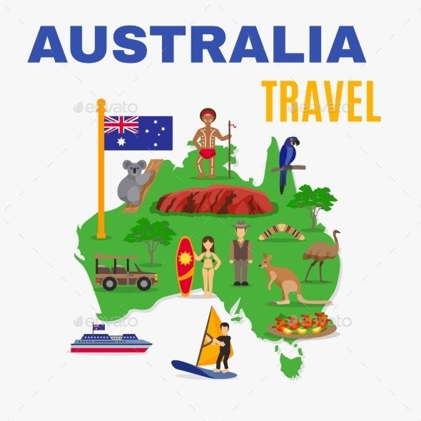 Australia Travel Map Poster  - Travel Conceptual