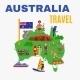 Australia Travel Map Poster