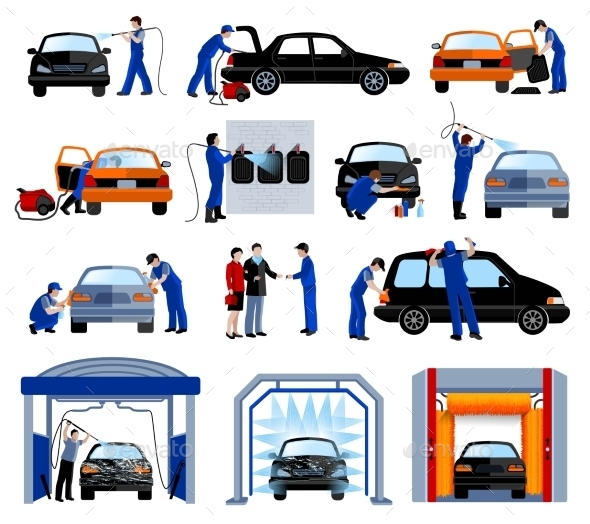 Car Wash Service Flat Pictograms Set  - Services Commercial / Shopping