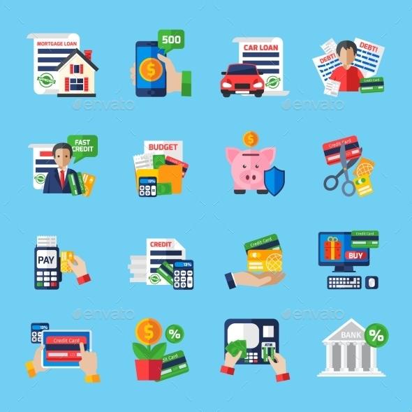 Loan Debt Flat Color Icons Set  - Decorative Symbols Decorative