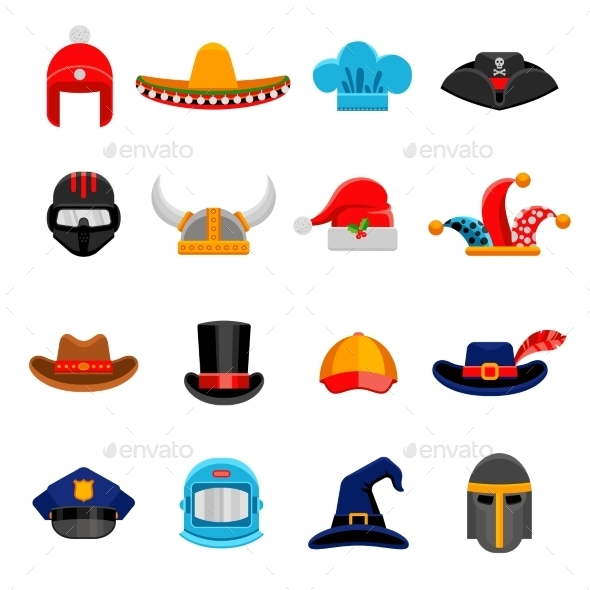 Funny Headwear Flat Icons Set - Objects Icons