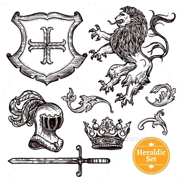 Heraldic Symbols Set Black Doodle Sketch - Abstract Conceptual