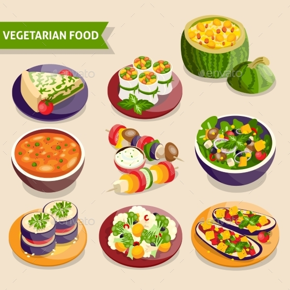 Vegetarian Dishes Set - Food Objects
