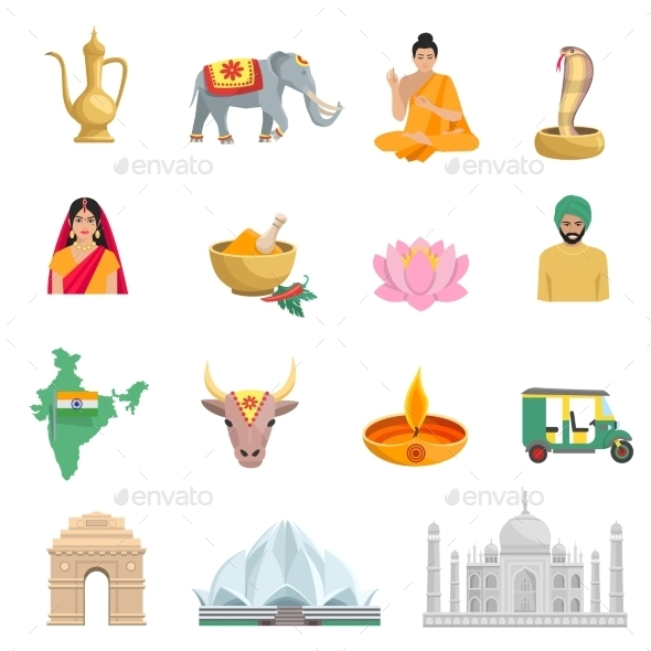 India Flat Icons Set - Travel Conceptual