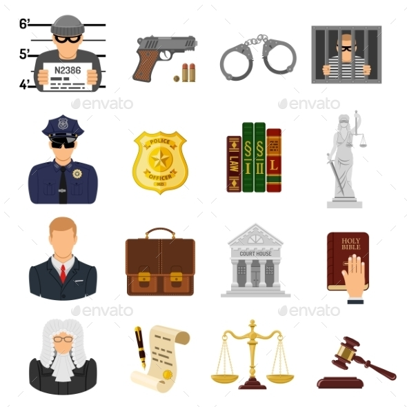Crime and Punishment Flat Icons - Web Technology