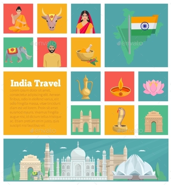 India Decorative Flat Icons  - Travel Conceptual