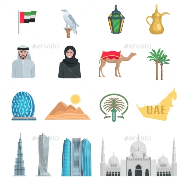 United Arab Emirates Flat Icons  - Travel Conceptual