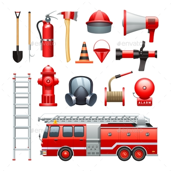 Firefighter Equipment And Machinery Icons Set  - Objects Icons
