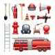 Firefighter Equipment And Machinery Icons Set