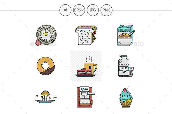 Breakfast menu flat color line vector icons - Food Objects