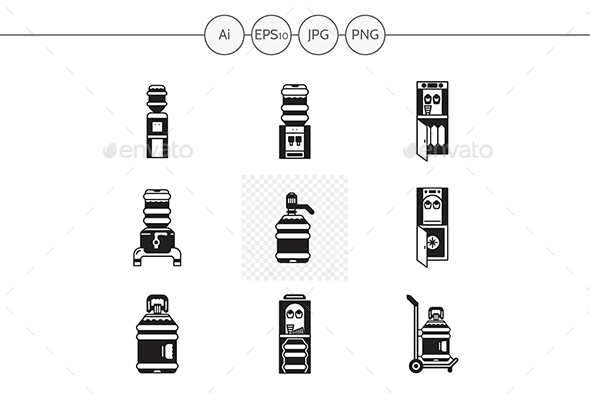 Black silhouette water cooler vector icons - Man-made objects Objects