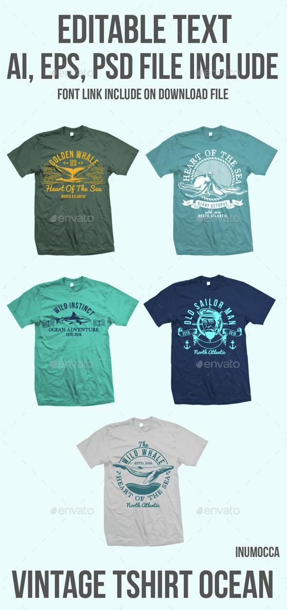 5 Ocean Vintage Badges - Clean Designs