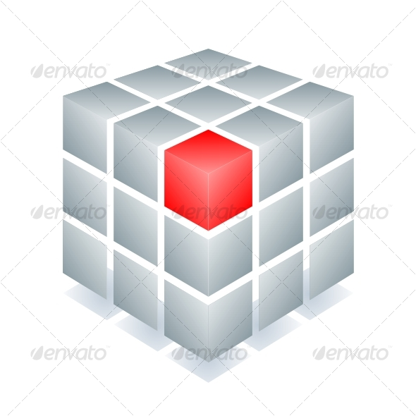 Cube with one red block - Decorative Symbols Decorative