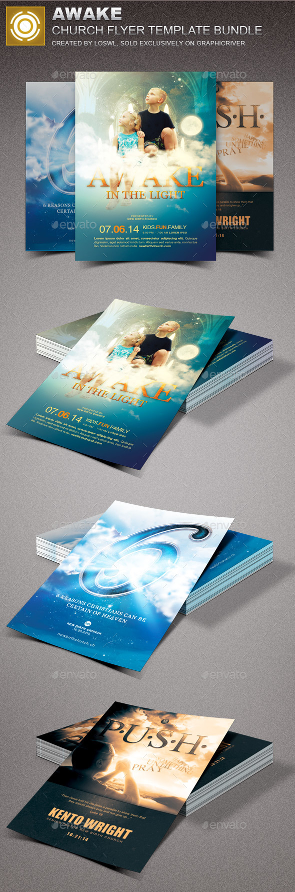 Awake Church Marketing Flyer Bundle - Church Flyers
