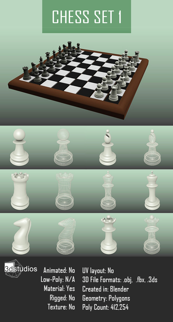 Chess Set 1 - 3DOcean Item for Sale