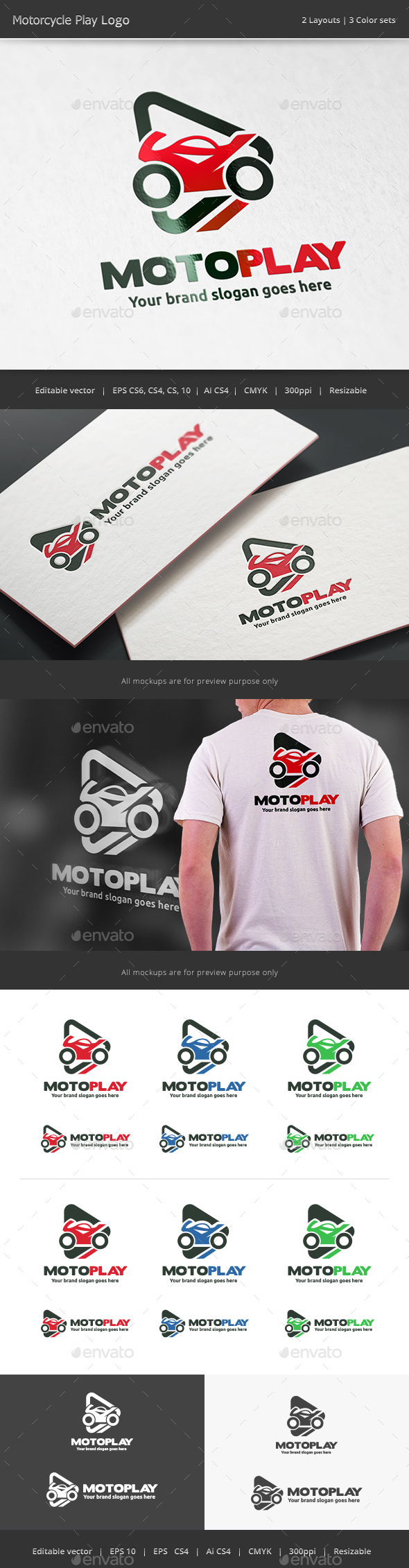 Motorcycle Play Logo - Vector Abstract