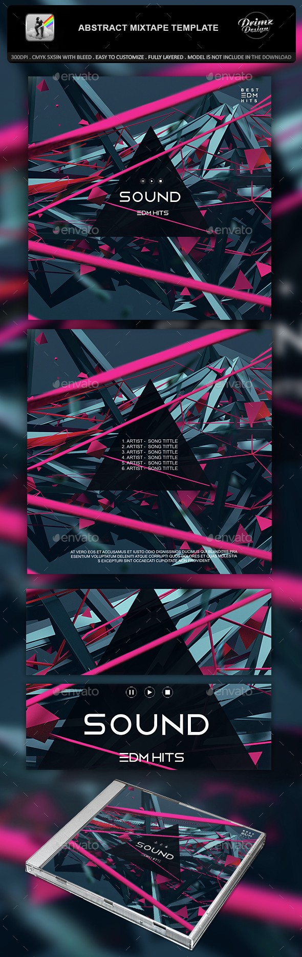 Abstract Mixtape Template - CD & DVD Artwork Print Templates