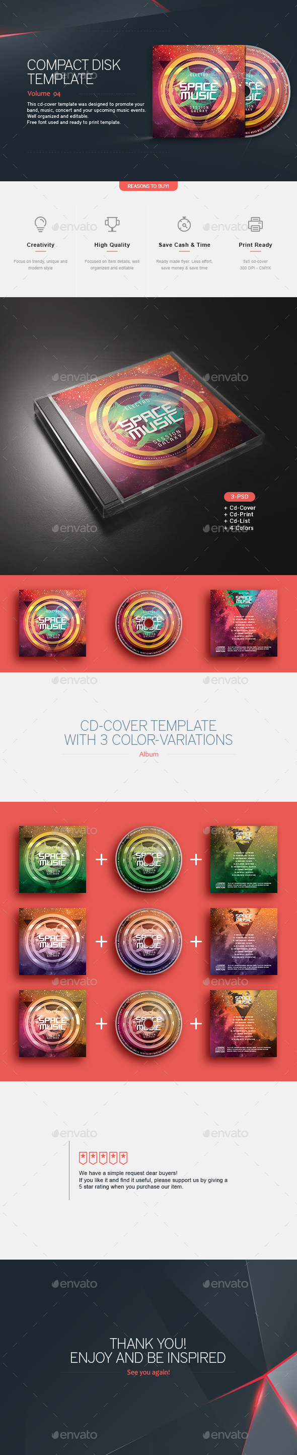 Space Music - CD Template - CD & DVD Artwork Print Templates
