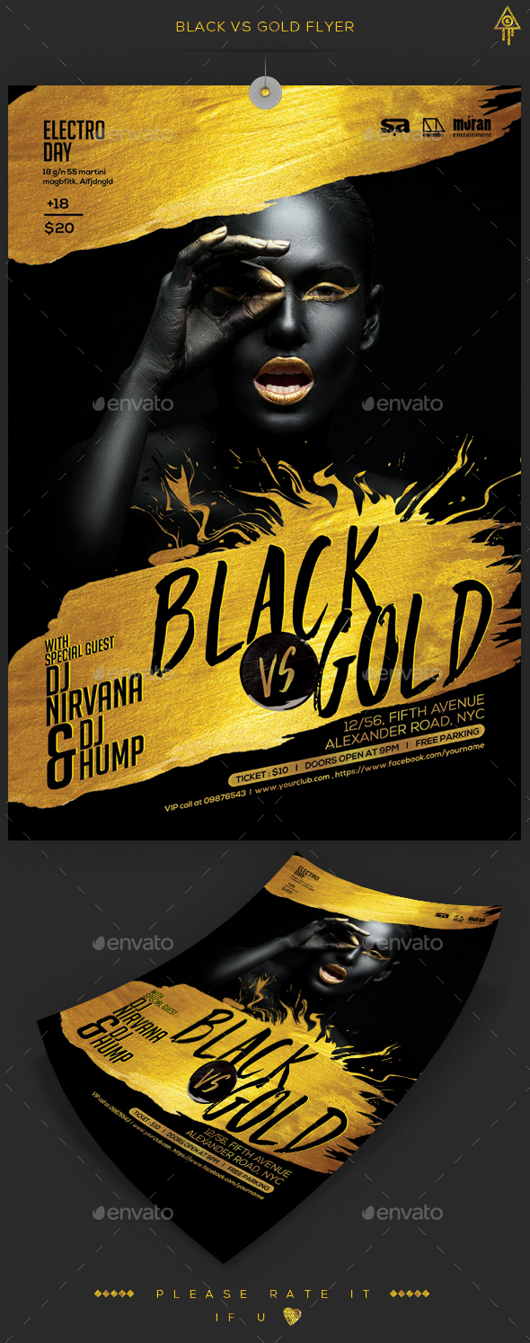Black Gold Party Flyer by creatwitter GraphicRiver