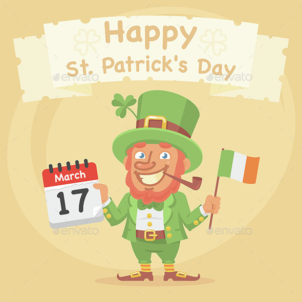 St. Patrick Holds Calendar and Flag - Miscellaneous Seasons/Holidays