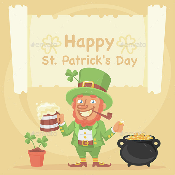 St. Patrick Holds Mug of Beer and Coin - Miscellaneous Seasons/Holidays