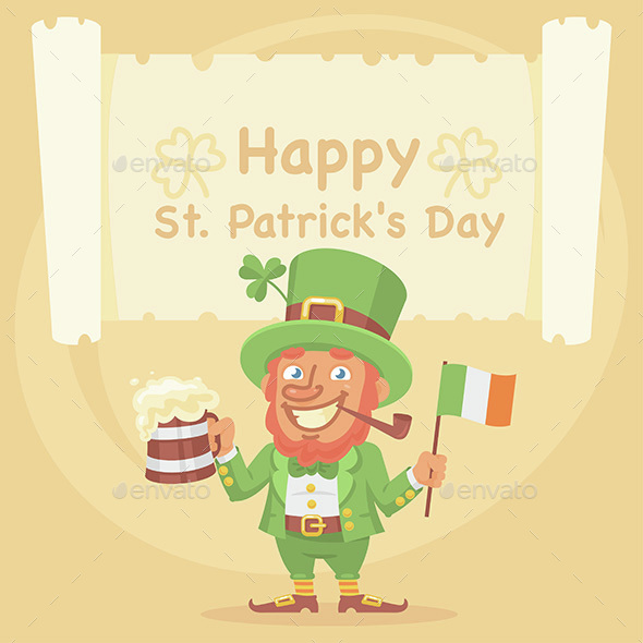 St. Patrick Holds Mug of Beer and Flag - Miscellaneous Seasons/Holidays