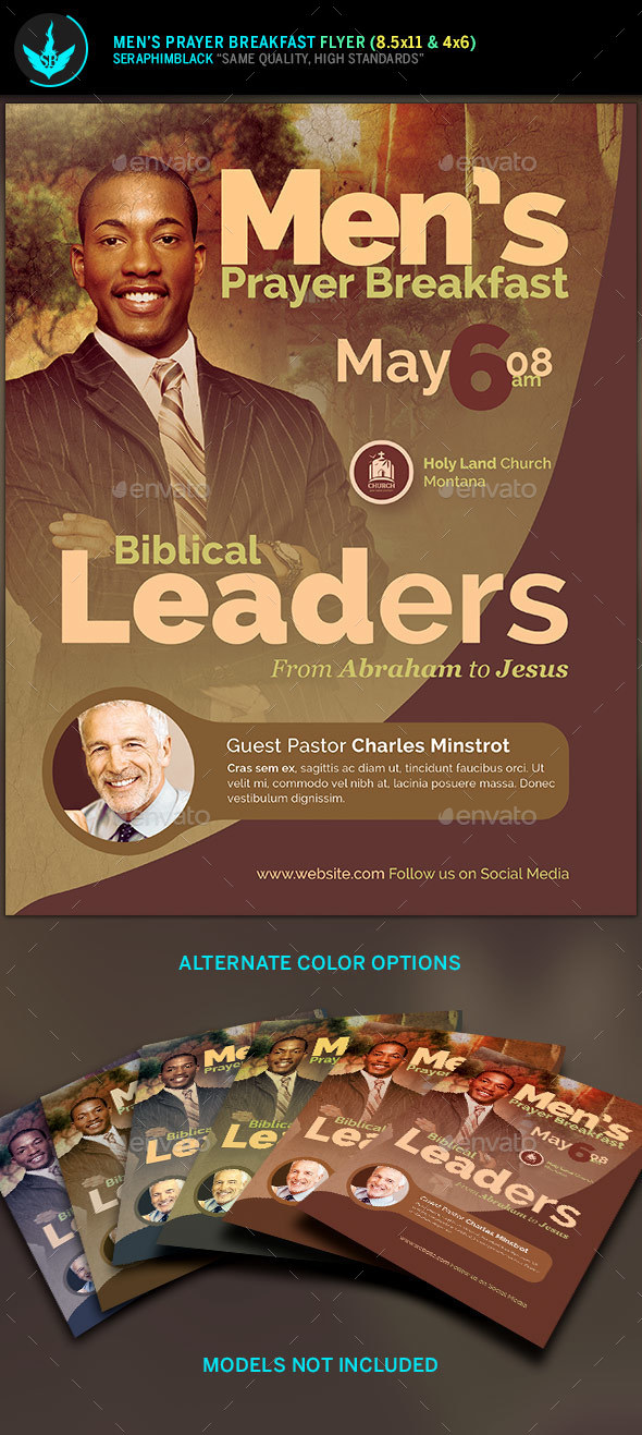 MenS Prayer Breakfast Church Flyer Template By Seraphimblack