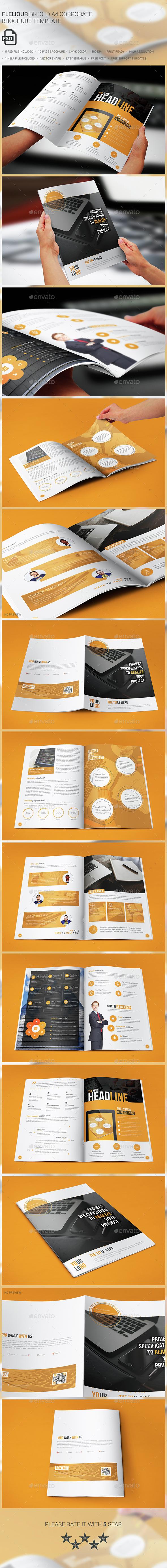 Fleliour Corporate Bi-fold Brochure - Brochures Print Templates