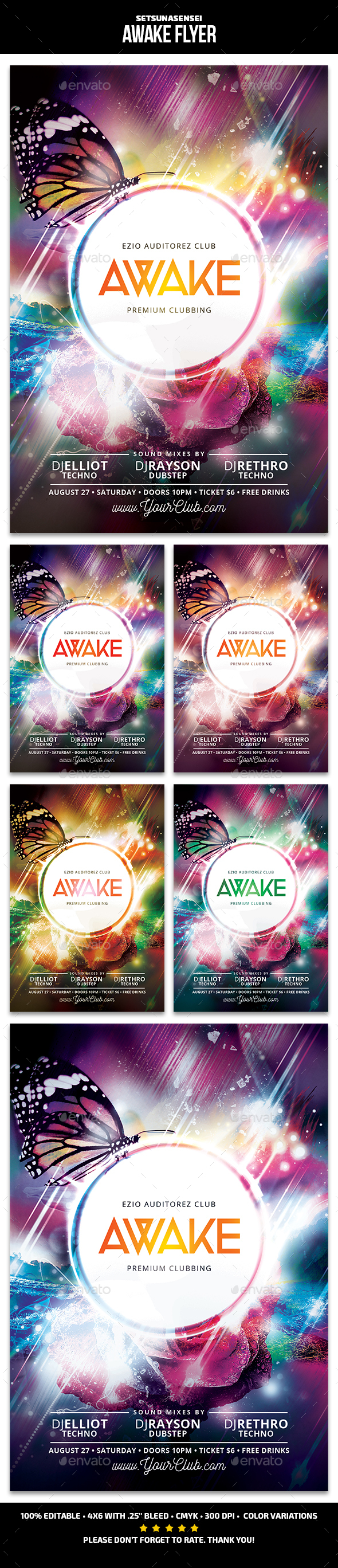 Awake Flyer - Clubs & Parties Events