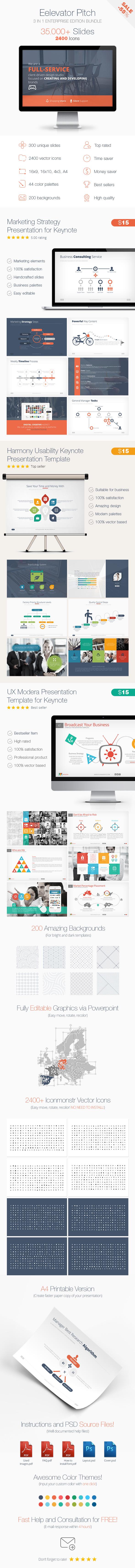 Elevator Pitch Keynote Presentation Bundle  - Business Keynote Templates