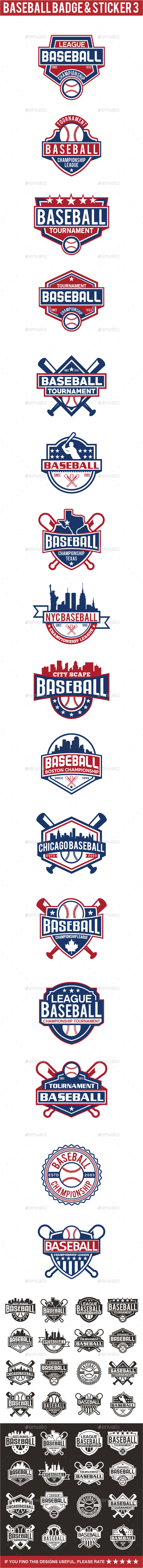 Baseball Badge & Stickers 3 - Badges & Stickers Web Elements