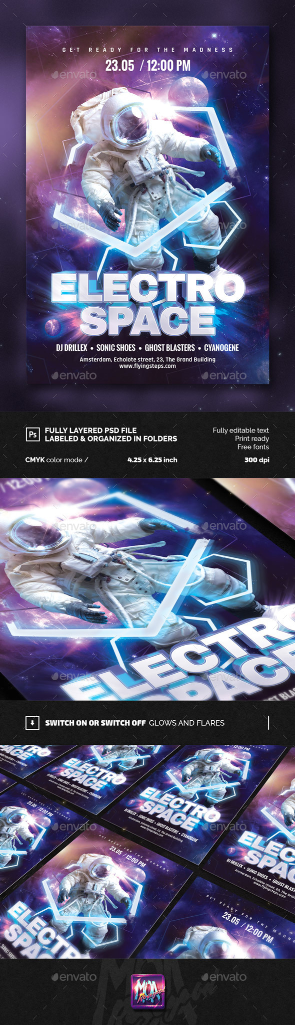 Electro Space Party flyer - Clubs & Parties Events