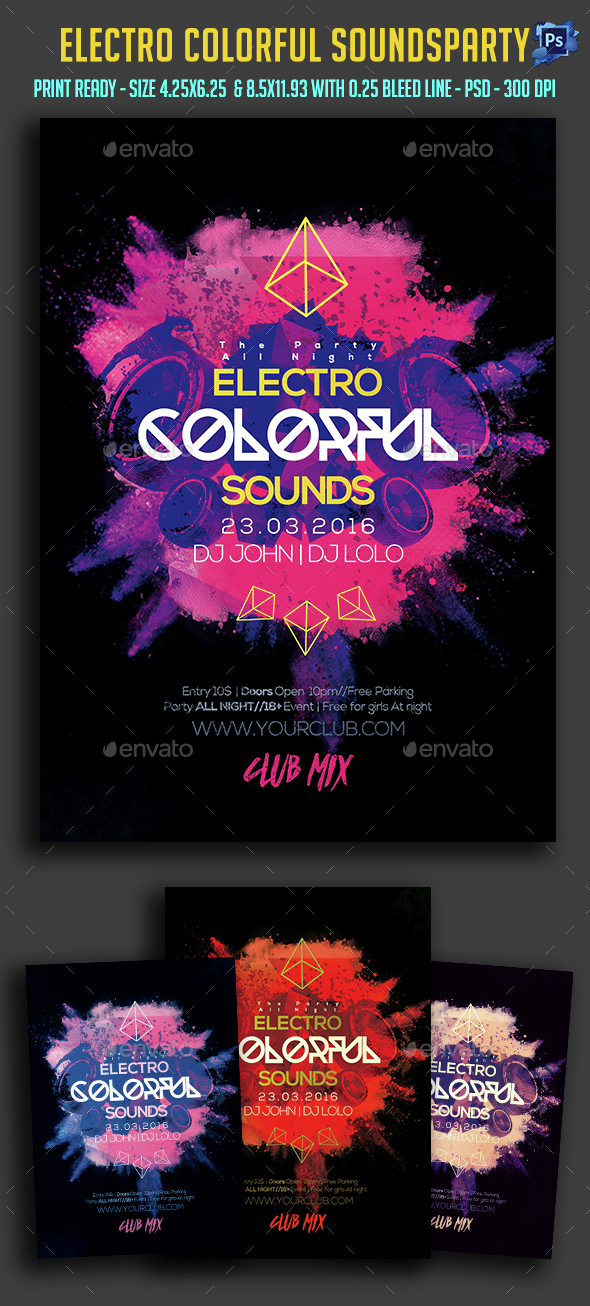 Electro Colorful Sounds Party Flyer  - Clubs & Parties Events