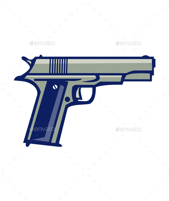 1911 Semi-Automatic Pistol Side Retro - Man-made Objects Objects