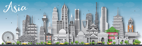 Asia Skyline Silhouette with Different Landmarks - Buildings Objects
