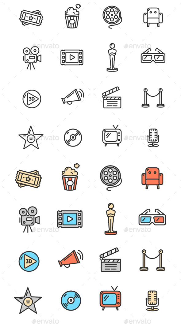 Cinema Colorful Outline Icon Set - Decorative Symbols Decorative