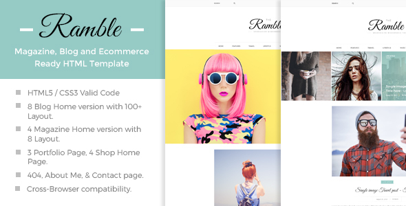 Ramble - Multi-Concept Blog, Magazine And Shop HTML Template  - Retail Site Templates