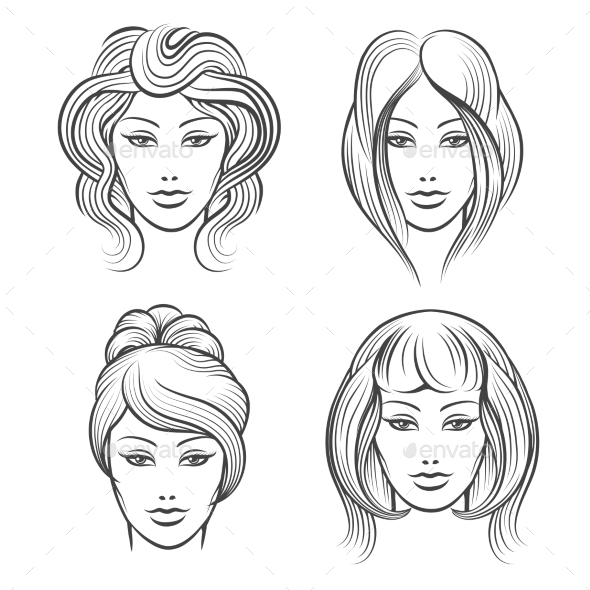 Womens Faces with Different Hairstyles - People Characters