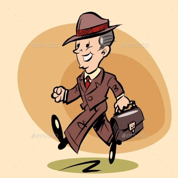 Smiling Retro Businessman Goes to Work - People Characters