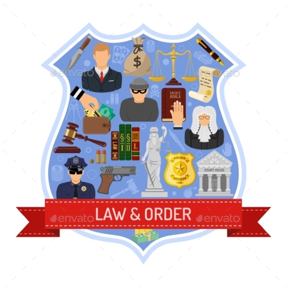 Law and Order Concept - Web Elements Vectors
