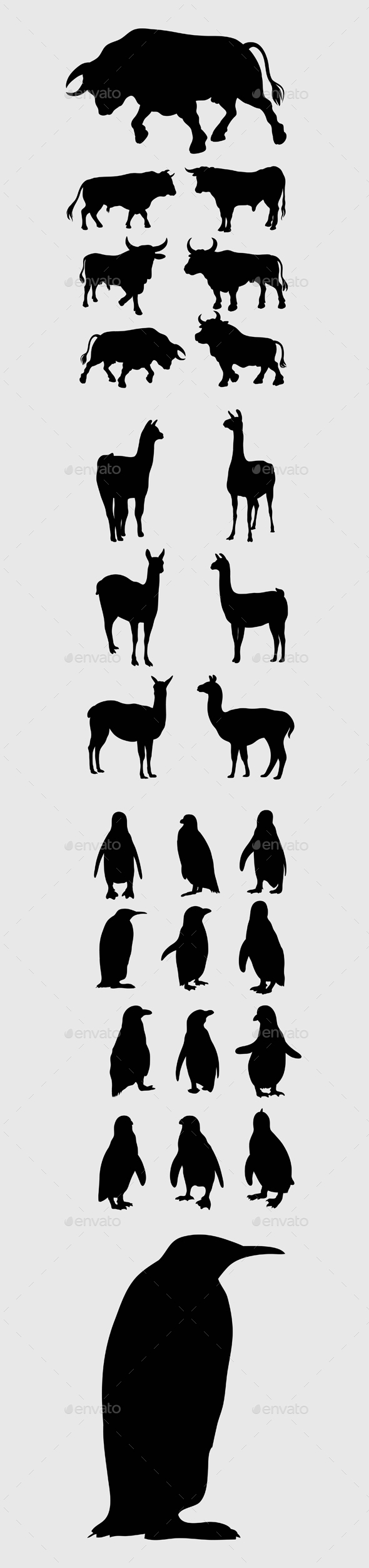 Bull, Lama and Penguin Silhouettes - Animals Characters