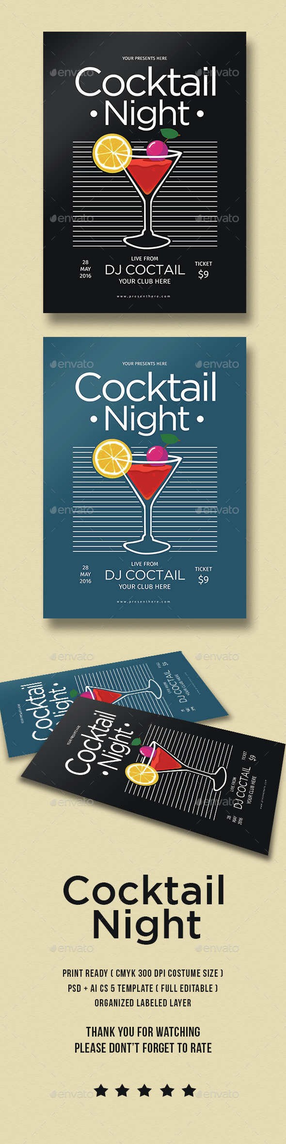 Cocktail Night Party - Flyers Print Templates