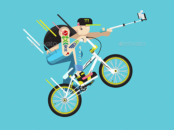 Active Bicyclist Character - Sports/Activity Conceptual