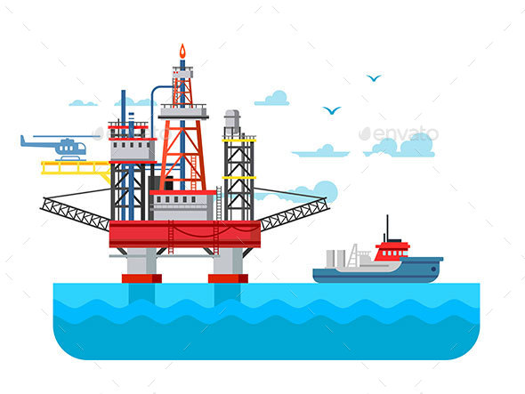 Drilling Rig at Sea - Industries Business