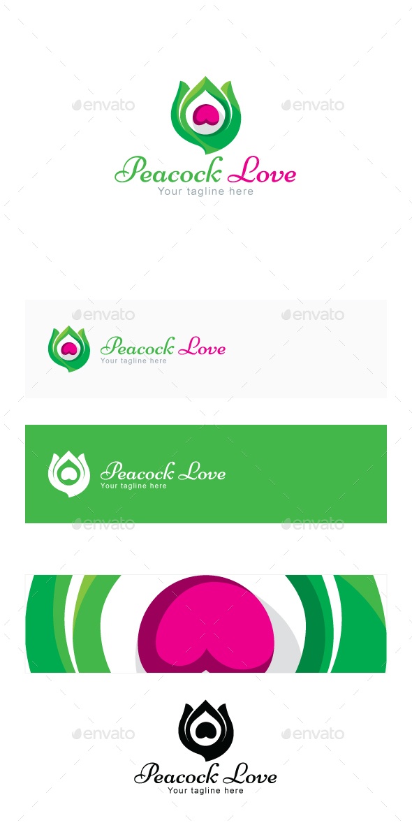 Peacock Love - Creative Bird Feather Stock Logo Template - Nature Logo Templates